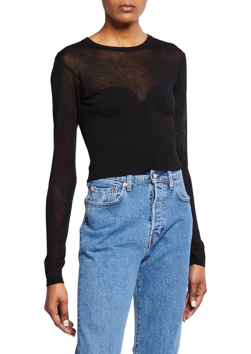 fd6c8c59af704 Bardot Crewneck Long-Sleeve Cropped Knit Illusion Tee   Casual Shirts