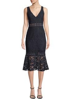 Bardot Fiona V-Neck Sleeveless Trumpet Lace Dress