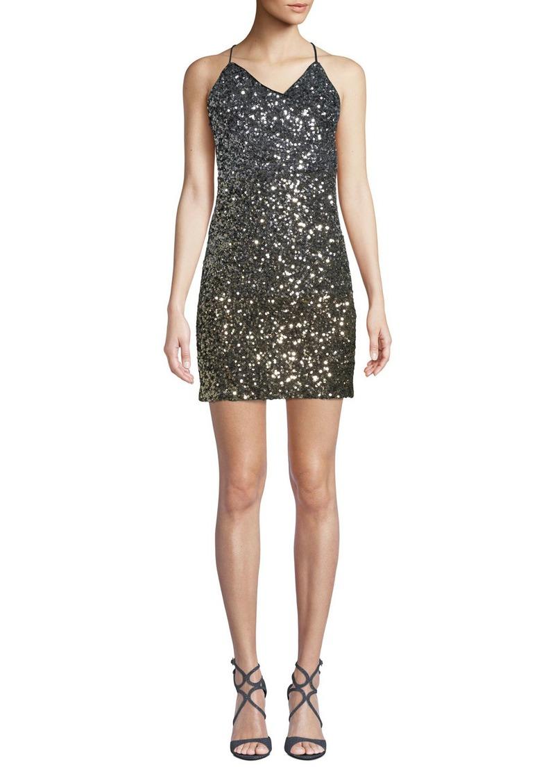Bardot Glimmer Sequined V-Neck Short Cocktail Dress