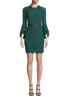 Bardot High-Neck Ruffle-Sleeve Lace  Body-Con Dress