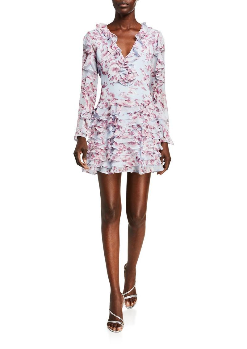 Bardot Lianna Printed Long-Sleeve Frill Dress