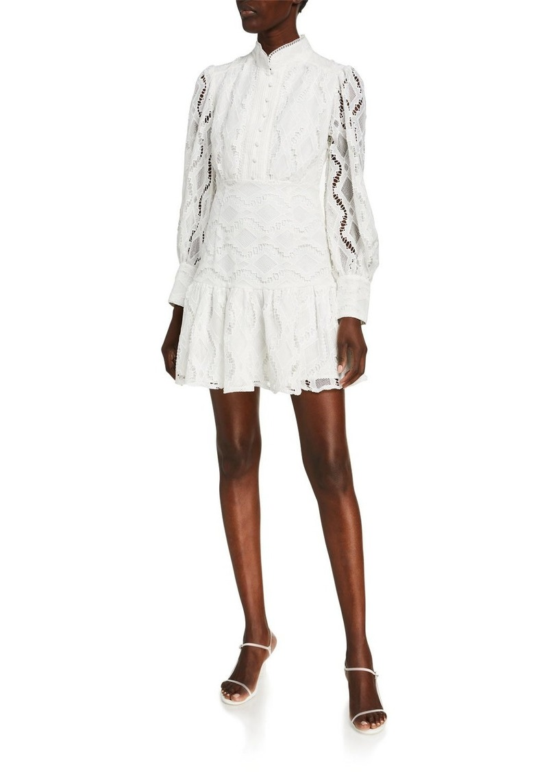 Bardot Remy Lace Button-Front Mini Dress