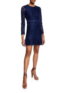 Bardot Rubi Bracelet-Sleeve Lace Mini Cocktail Dress