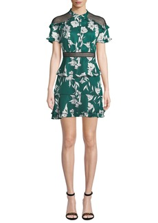 Bardot Sorrento Floral Ruffle Short Dress with Mesh Inserts