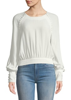 Bardot Tie-Back Button Long-Sleeve Blouse