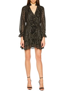 Bardot V-Neck Long-Sleeve Spotted Shirtdress w/ Ruffles