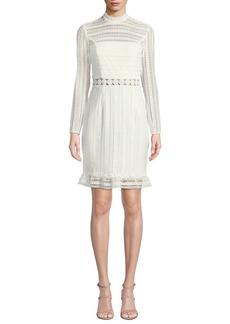 Bardot Vivian Splice High-Neck Lace Dress