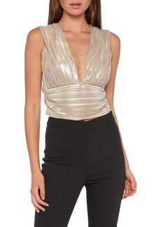 Women's Bardot Disco Shimmer Plisse Top