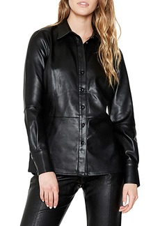 Women's Bardot Faux Leather Shirt Jacket