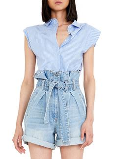 Women's Bardot Stripe Shoulder Pad Button-Up Sleeveless Shirt
