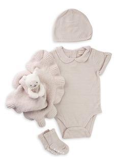 Barefoot Dreams® CozyChic® Ultra Lite™ Eyelet Bodysuit, Buddy Blanket, Booties & Beanie Set (Baby)