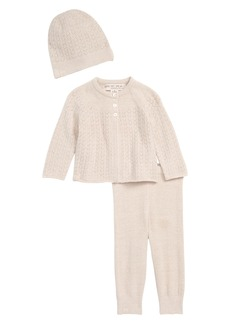 Barefoot Dreams® CozyChic™ Ultra Lite Pointelle Cardigan, Pants & Beanie Set (Baby)