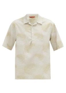 Barena Venezia Palm-jacquard Cuban-collar cotton-oxford shirt