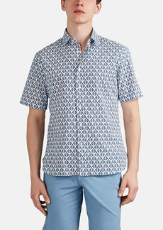 Barneys New York Men's Abstract-Floral Cotton Button-Front Shirt