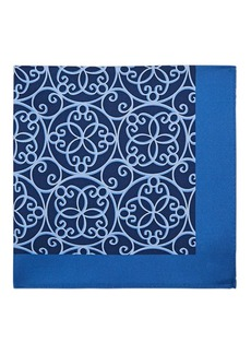 Barneys New York Men's Abstract-Print Silk Twill Pocket Square - Navy