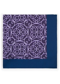 Barneys New York Men's Abstract-Print Silk Twill Pocket Square - Purple