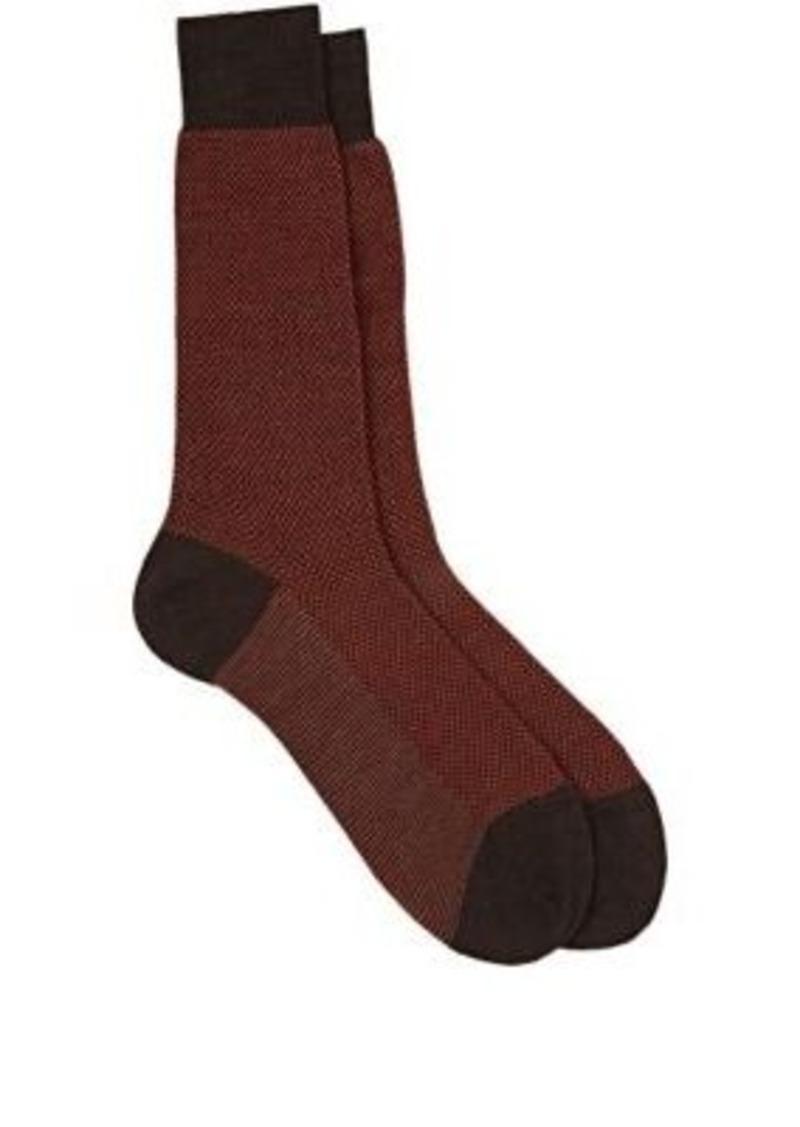 Barneys New York Men's Blenheim Birdseye-Knit Mid-Calf Socks-BROWN