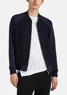 Barneys New York Men's Bouclé-Inset Cotton-Blend Fleece Bomber Jacket