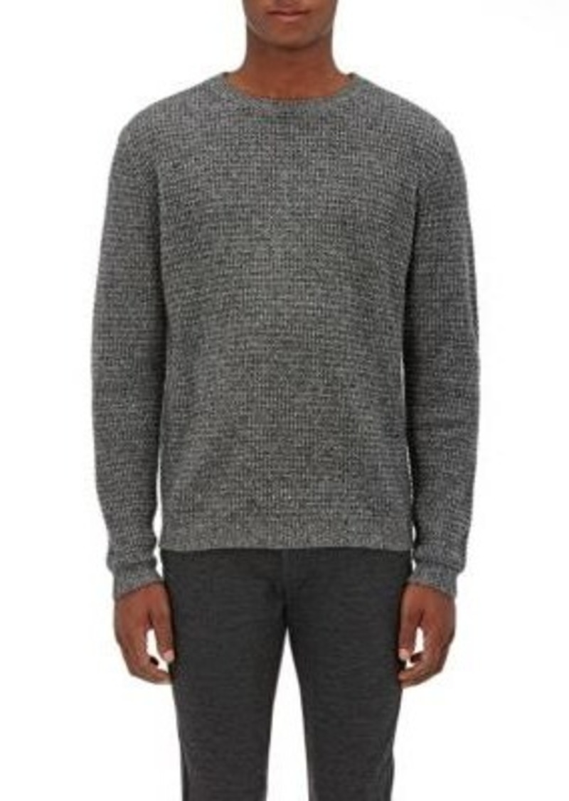 Barneys New York Men's Cashmere Thermal-Stitched Sweater-Black Size S