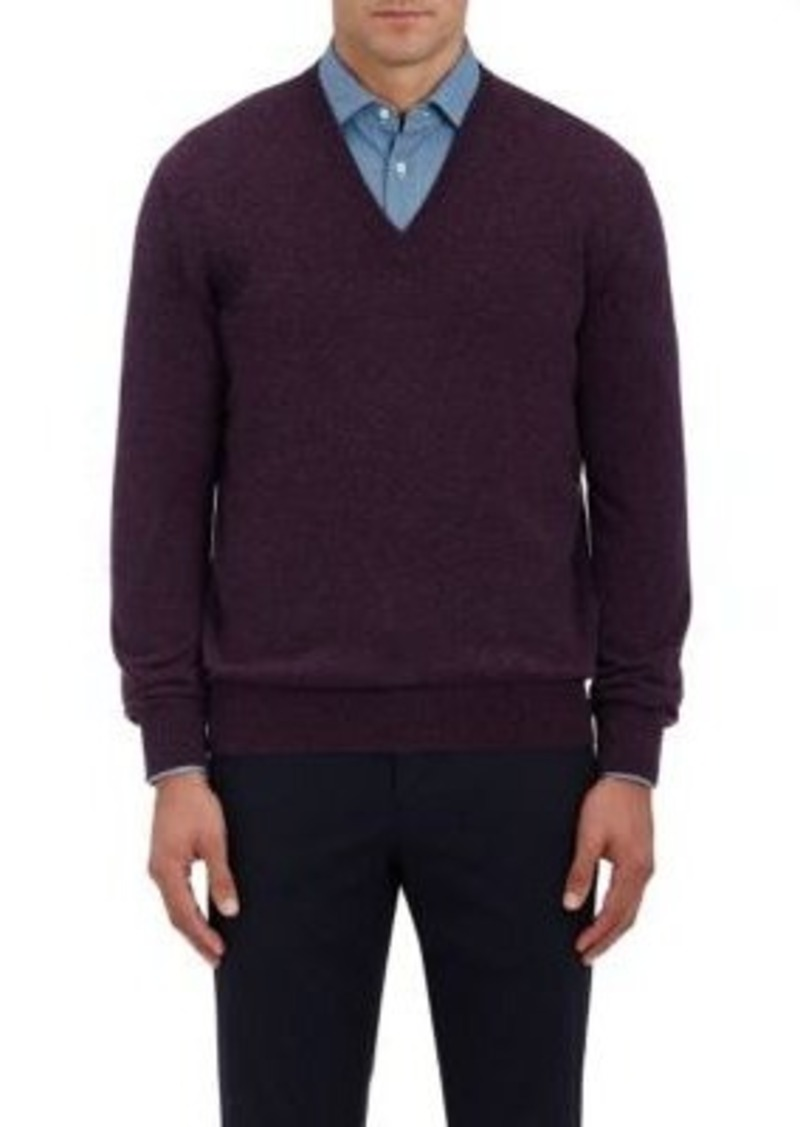 Barneys New York Men's Cashmere V-Neck Sweater-Purple Size L