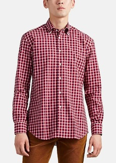 Barneys New York Men's Checked Cotton Poplin Button-Down Shirt