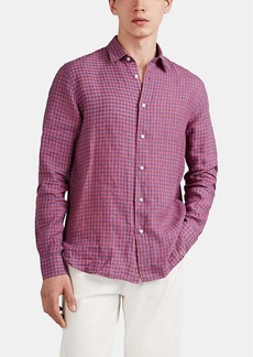 Barneys New York Men's Checked Linen Button-Front Shirt