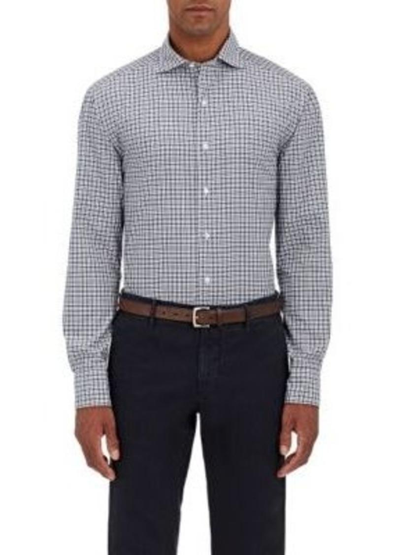Barneys New York Men's Checked Poplin Shirt