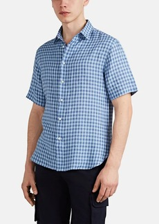 Barneys New York Men's Checked Slub Linen Button-Front Shirt