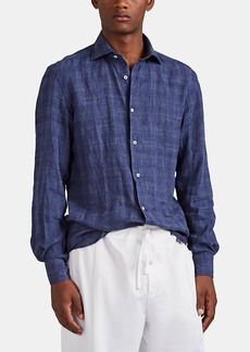 Barneys New York Men's Checked Slub Linen Shirt