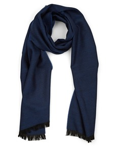 Barneys New York Men's Chevron Wool Scarf - Blue