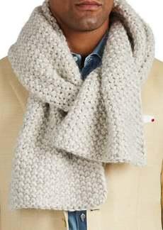 Barneys New York Men's Chunky-Knit Cotton-Blend Scarf - Light Gray