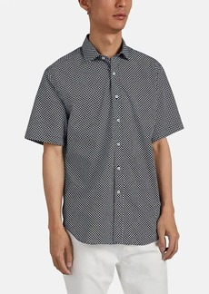 Barneys New York Men's Circle-Print Cotton Poplin Shirt