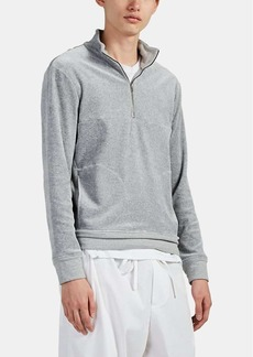 Barneys New York Men's Cotton-Blend Velour Half-Zip Sweatshirt