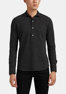 Barneys New York Men's Cotton Piqué Long-Sleeve Polo Shirt