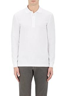 Barneys New York Men's Cotton Piqué Long-Sleeve Polo Shirt
