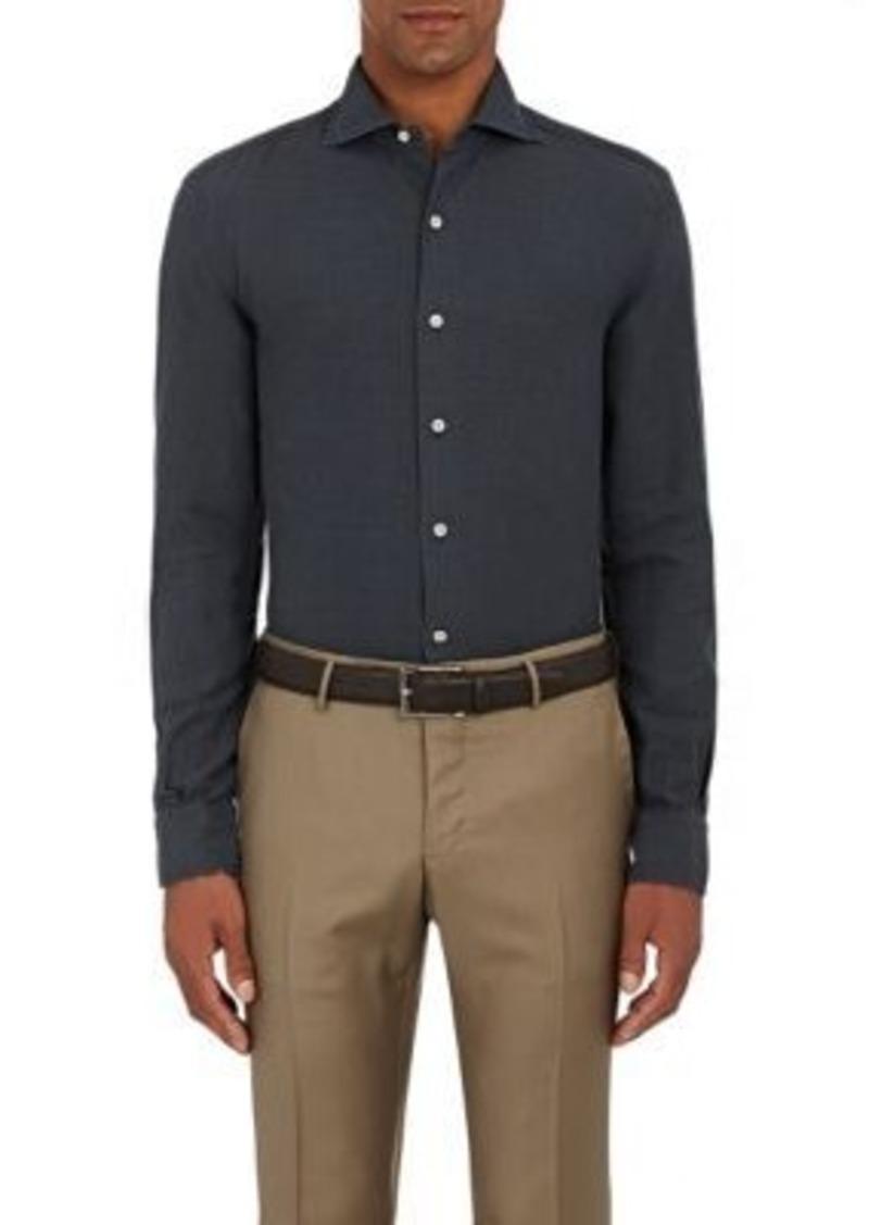 Barneys New York Men's Cotton Twill Shirt-Dark Grey Size L