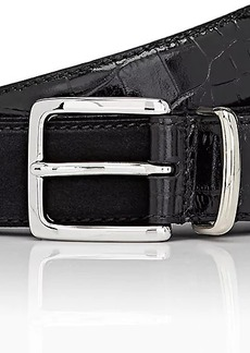 Barneys New York Men's Croc-Stamped Leather & Suede Belt