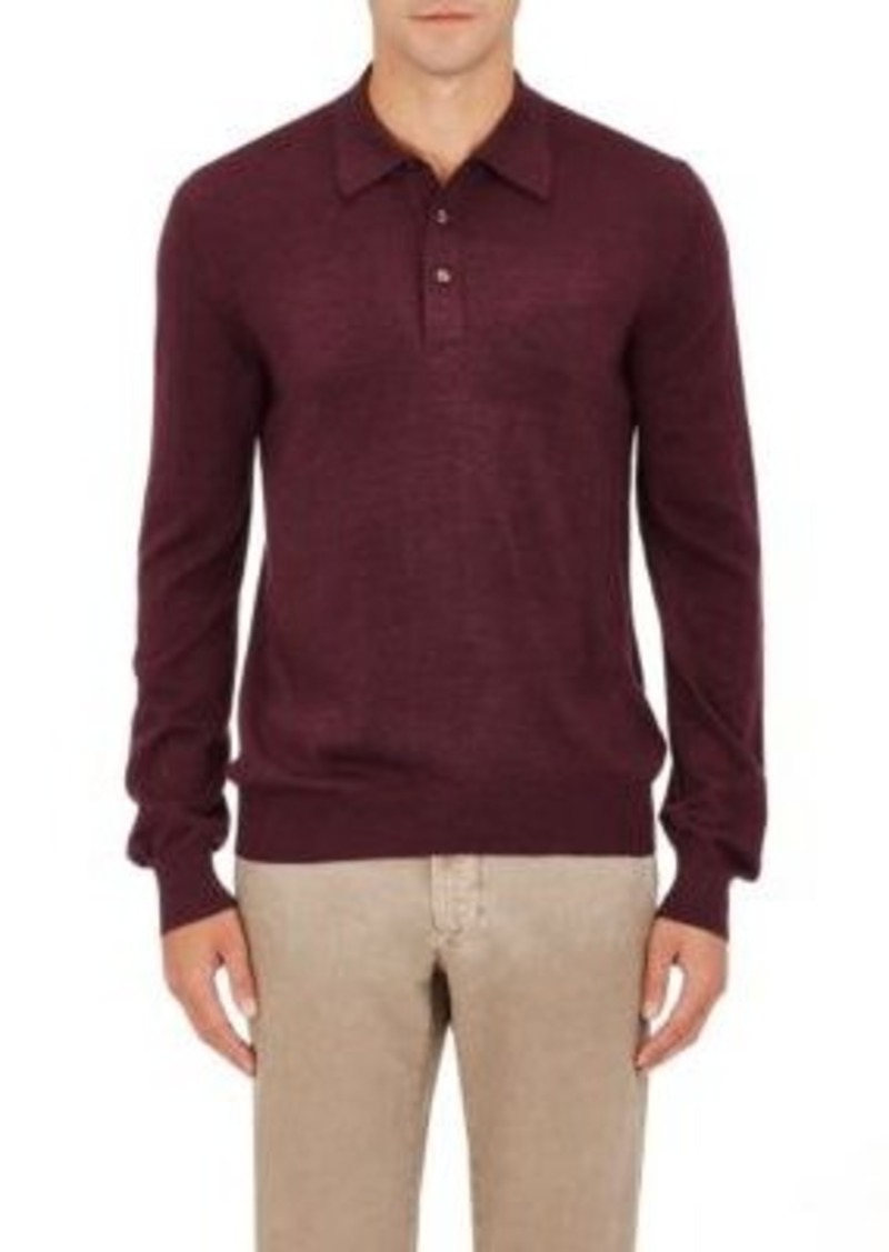 Barneys New York Men's Fine-Gauge Knit Polo Sweater