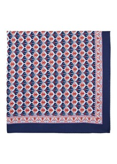Barneys New York Men's Floral-Medallion-Print Silk Twill Pocket Square - Navy