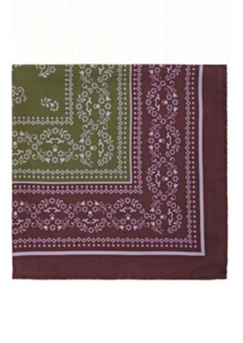 Barneys New York Men's Floral-Print Silk Twill Pocket Square