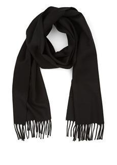 Barneys New York Men's Fringed Wool Scarf - Black