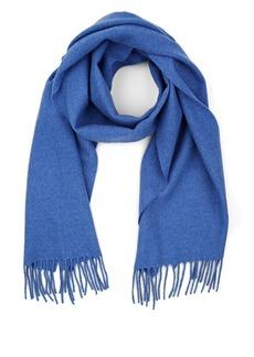 Barneys New York Men's Fringed Wool Scarf - Blue