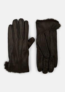 Barneys New York Men's Fur-Lined Leather Gloves