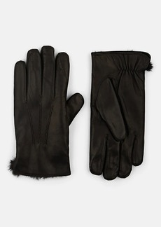 Barneys New York Men's Fur-Lined Leather Gloves