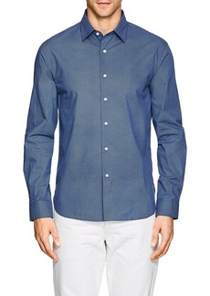 Barneys New York Men's Geometric-Print Cotton Poplin Shirt