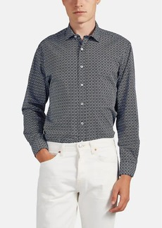 Barneys New York Men's Geometric-Print Cotton Shirt