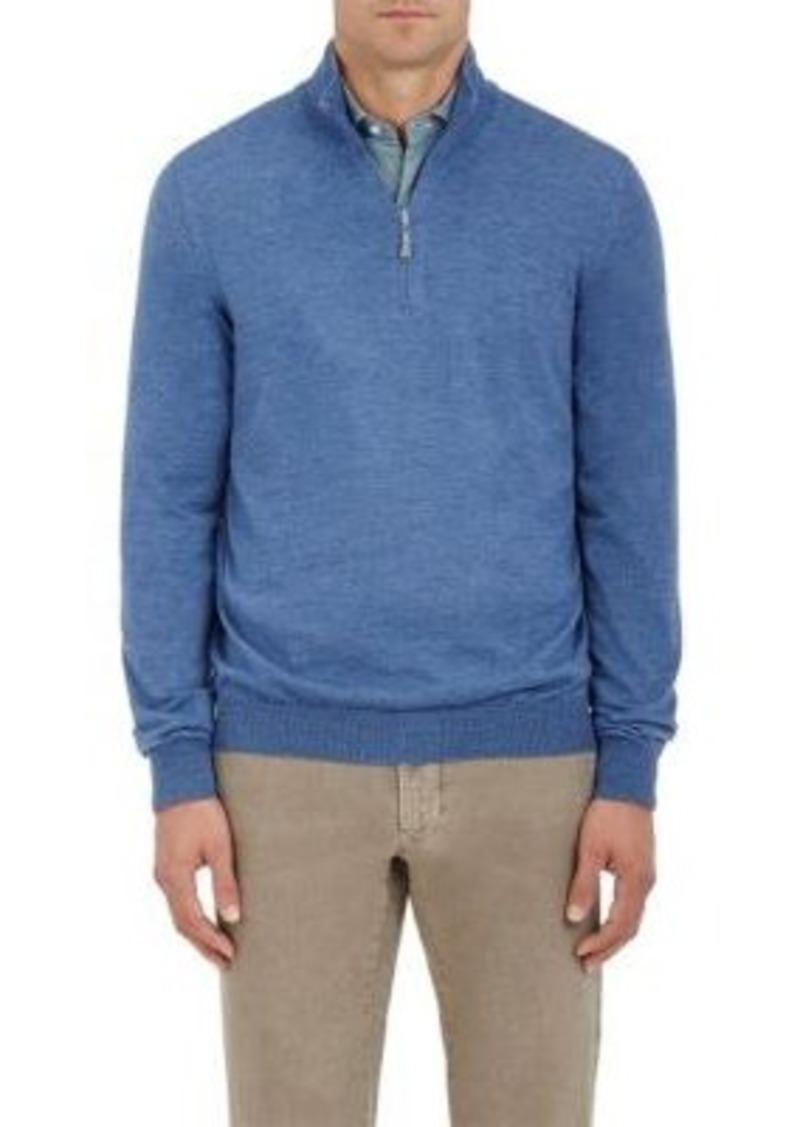 Barneys New York Men's Half-Zip Mock Turtleneck Sweater-Blue Size M