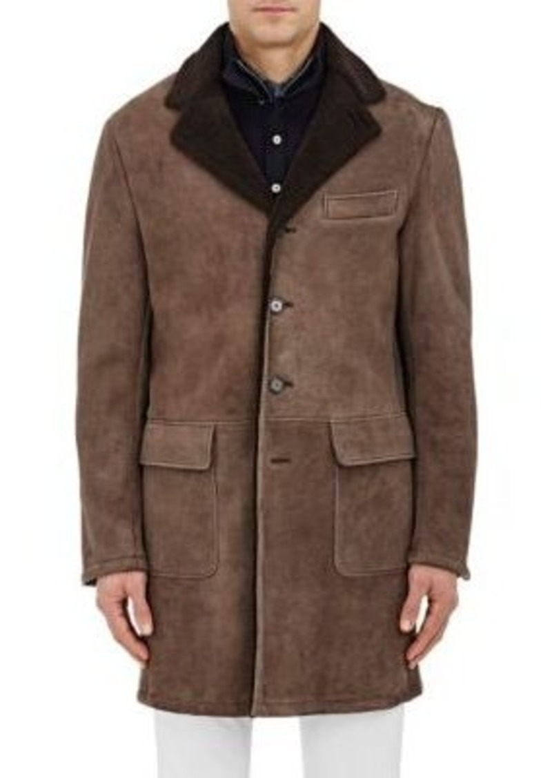 Barneys New York Men's Lamb Shearling Coat-Brown Size M