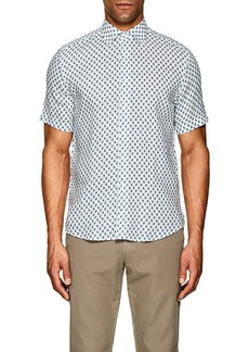 Barneys New York Men's Leaf-Print Linen Gauze Shirt