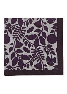 Barneys New York Men's Leaf-Print Wool Pocket Square - Purple